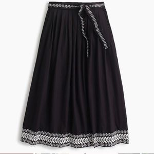 J Crew Black White Embroidered Midi Skirt Small